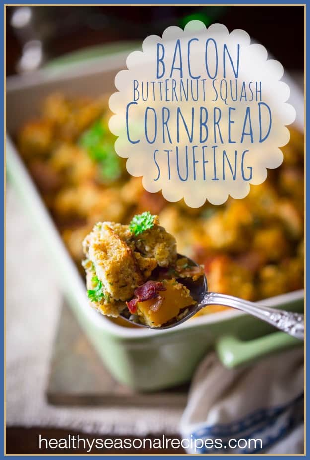 gluten free cornbread stuffing with bacon and butternut squash