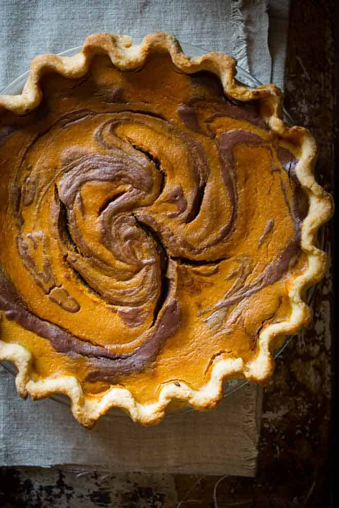 Chocolate Swirl Pumpkin Pie Recipe for Thanksgiving