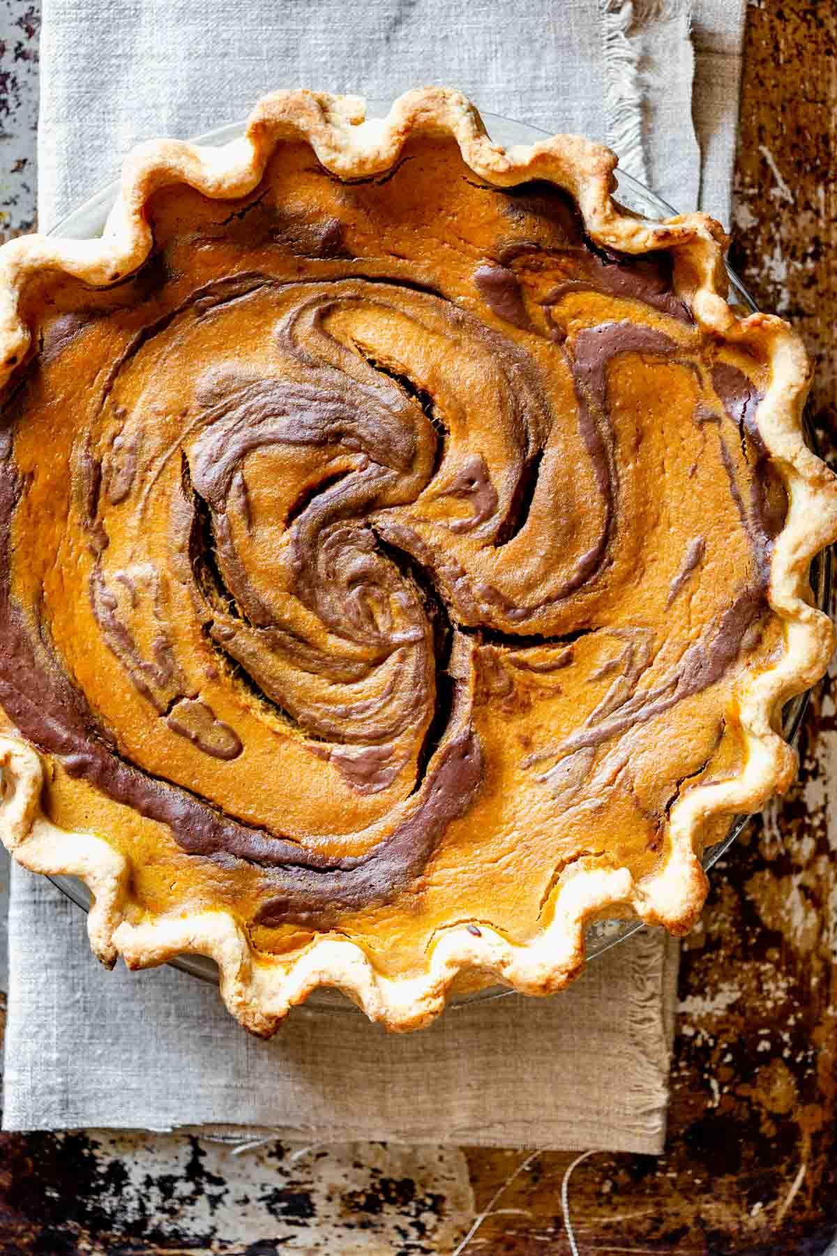 overhead of pumpkin chocolate pie