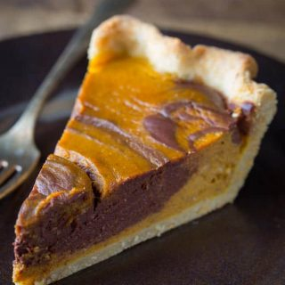 Chocolate Swirl Pumpkin Pie recipe for Thanksgiving on healthy seasonal recipes