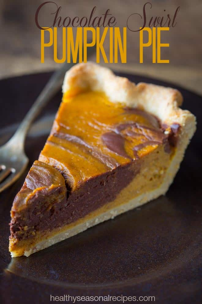 Chocolate Swirl Pumpkin Pie recipe on Healthy Seasonal Recipes