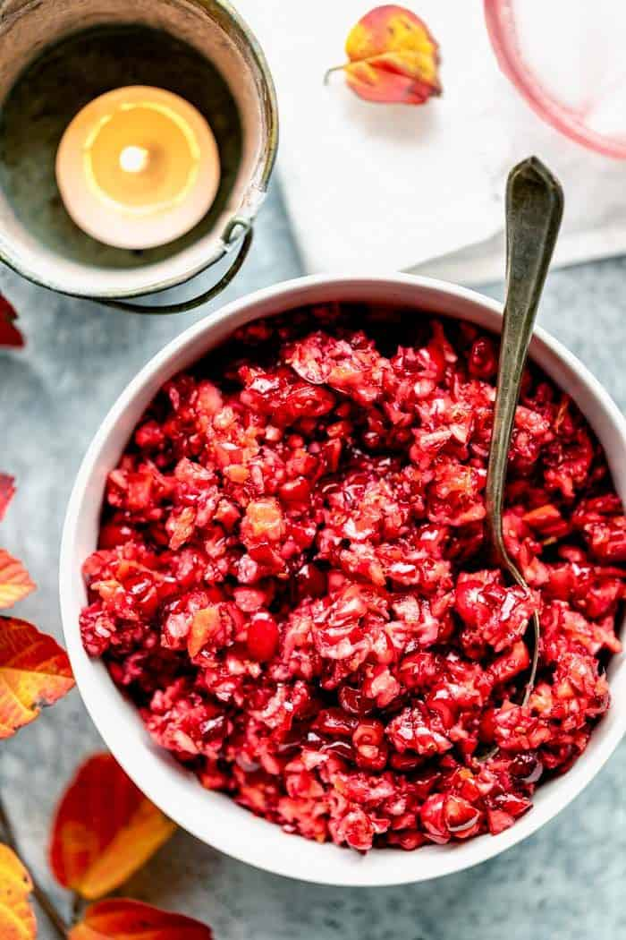 a close up overhead of cranberry relish