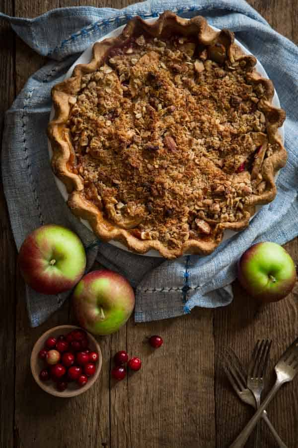 Cranberry Maple Apple Crumb Pie recipe with Deep Dish Whole-grain crust. Sweetened with pure maple syrup and maple sugar. Recipe on Healthy Seasonal Recipes by Katie Webster