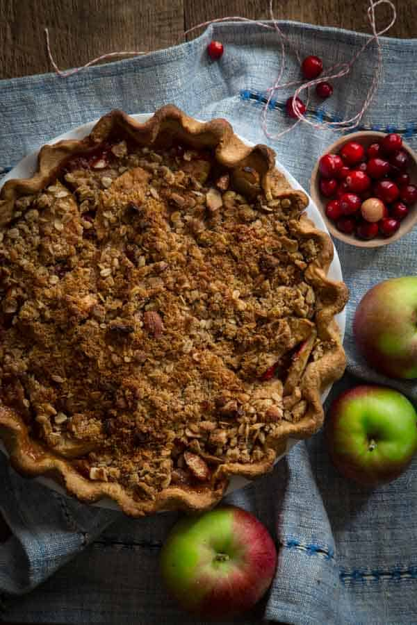 Cranberry Maple Apple Crumb Pie recipe. #Thanksgiving | Made with Deep Dish Whole-grain crust. Sweetened with pure maple syrup and maple sugar. Recipe on Healthy Seasonal Recipes by Katie Webster