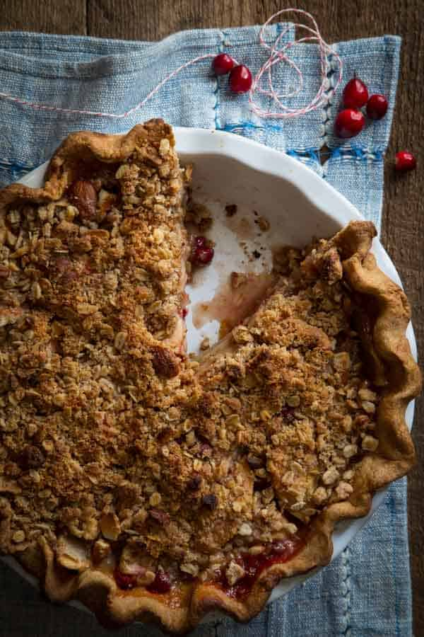 Cranberry Maple Apple Crumb Pie recipe with Deep Dish Whole-grain crust. Sweetened with pure maple syrup and maple sugar. Recipe on Healthy Seasonal Recipes by Katie Webster #Thanksgiving