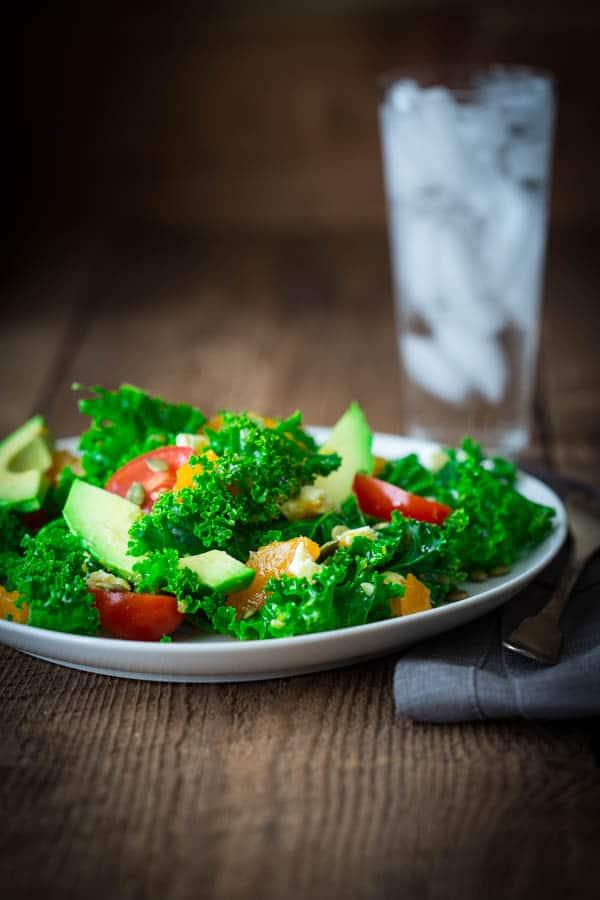 citrus kale salad, naturally gluten-free and sugar-free
