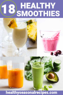 a collage of smoothie photos and text overlay