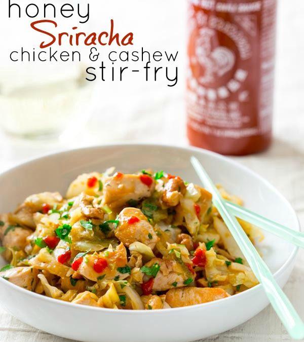 honey sriracha chicken and cashew stir-fry