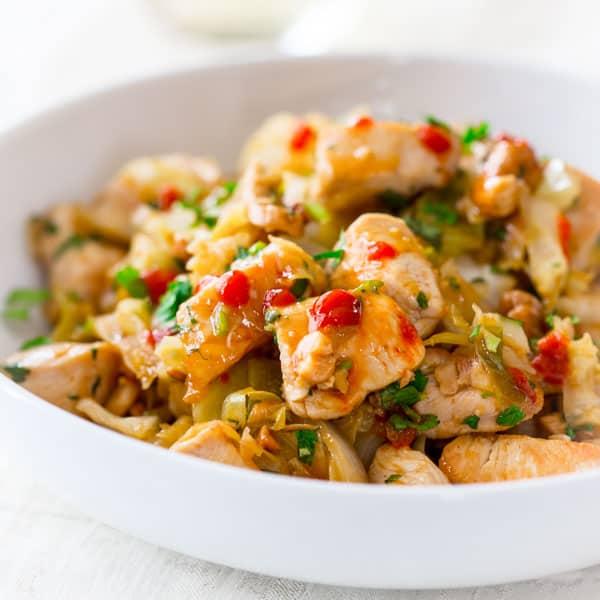 honey sriracha chicken and cashew stir fry