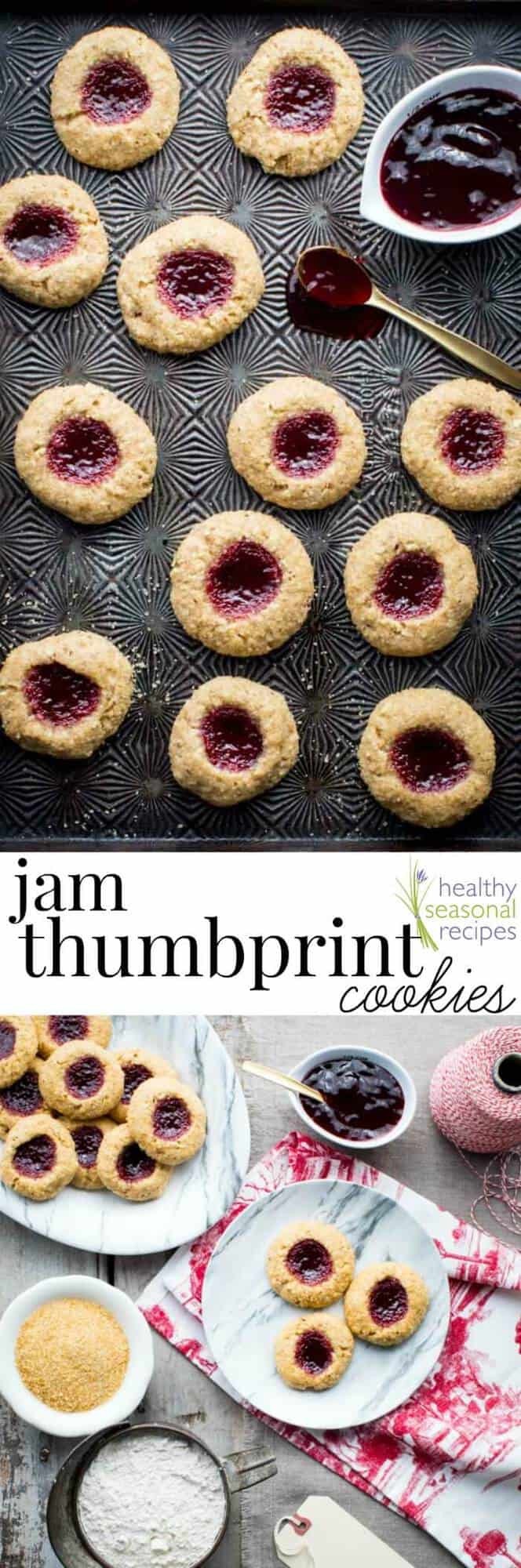 I can't wait for you to try these healthy holiday Jam Thumbprint Cookies. They have the flavors of a linzer torte (raspberry and almond) and make the perfect classic Christmas Cookie! #holidaycookie #Christmas #holidaybaking #vegetarian #holiday #cookieswap #healthyrecipe #thumbprintcookie