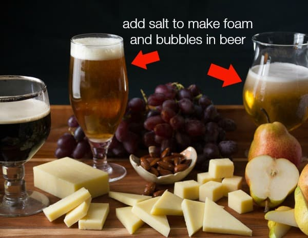 sprinkle salt into beer that has gone flat to make more bubbles and foam | Photography Tips on Healthy Seasonal Recipes