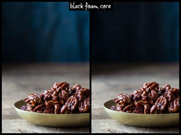 use black foam core to block the light on the background to draw your eye forward to the subject | food photography tips on Healthy Seasonal Recipes