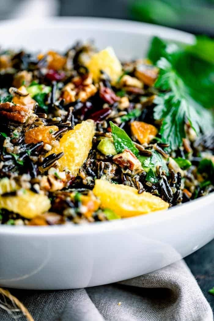 Close up of wild rice salad with oranges