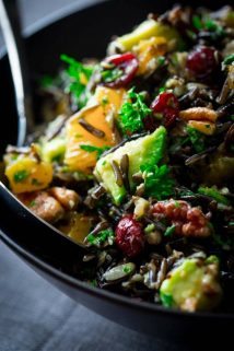 Wild Rice Salad with Cranberries Apricots and Avocado | Vegan | Whole Grain | Winter | Side Dish | Healthy Seasonal Recipes