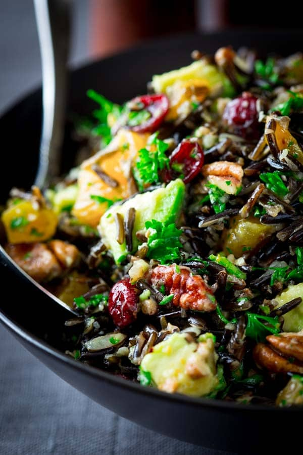 wild rice salad with cranberries apricots and avocado ...