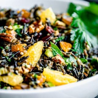 close up of wild rice salad