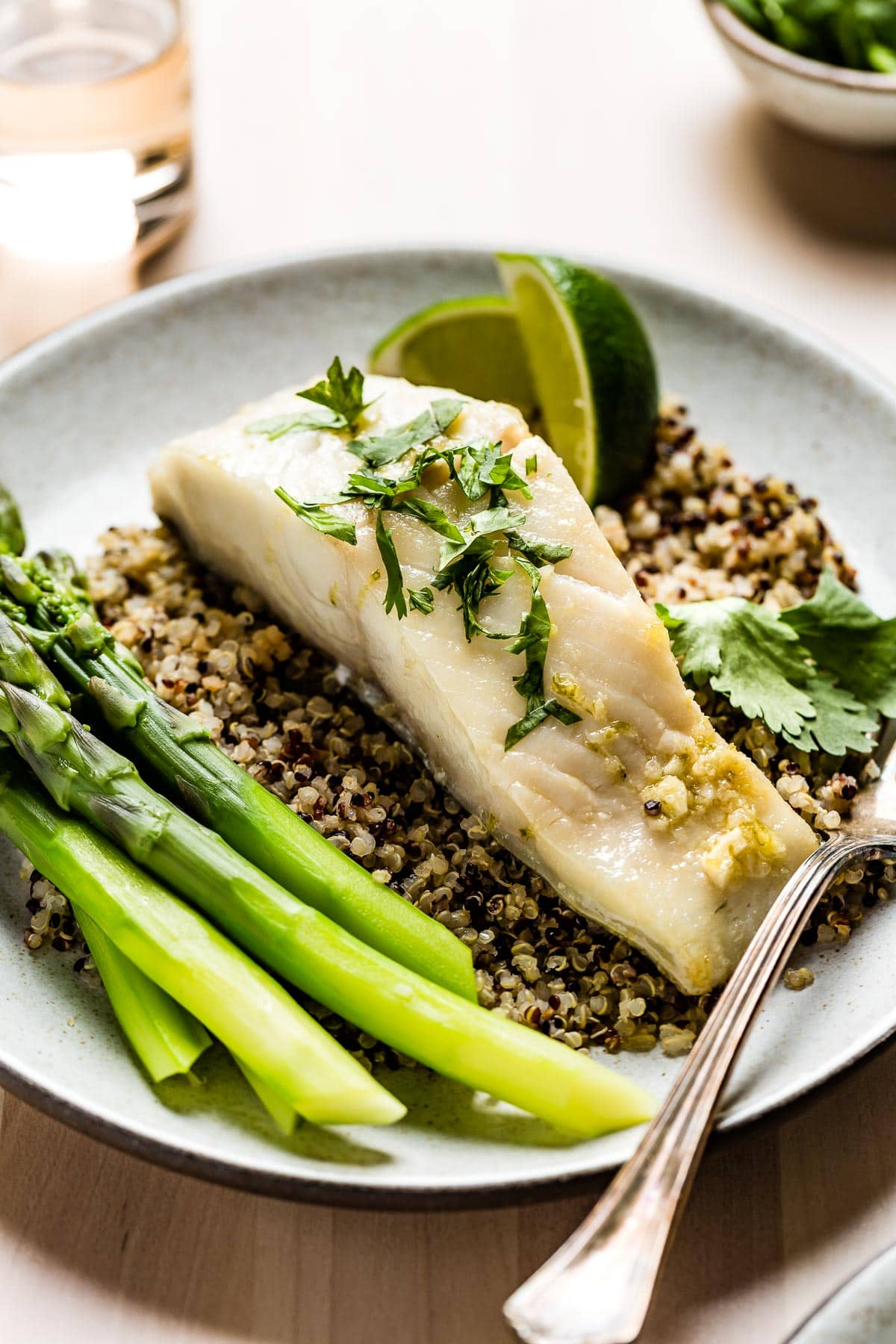 black cod with asparagus and quinoa