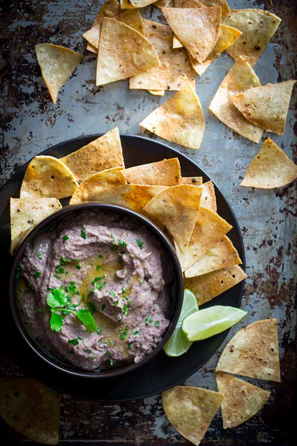 Black Bean Hummus recipe a healthy snack or appetizer to share for a Super Bowl party | Healthy Seasonal Recipes