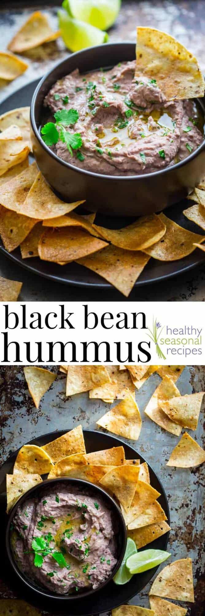 Black Bean Hummus, one of the BEST easy appetizers. Serve with veggies or tortilla chips. It is naturally gluten-free too! #plantbased #meatless #vegetarian #vegan #healthy #glutenfree #appetizer #superbowl #cleaneating #hummus #healthyseasonal