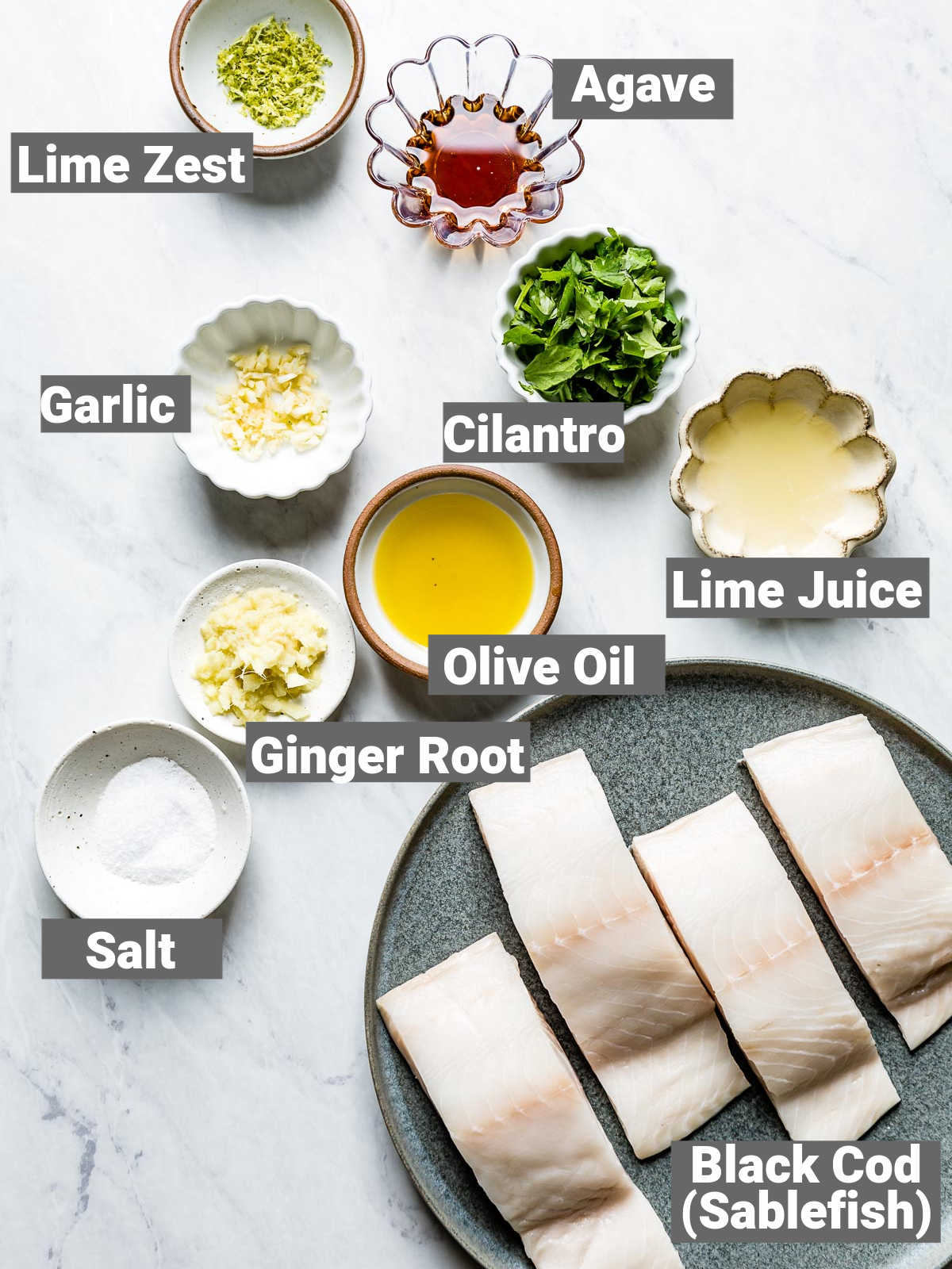 the ingredients for the black cod with labels
