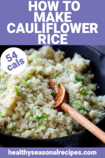 closeup of skillet with cauliflower rice with a wooden spoon with text overlay