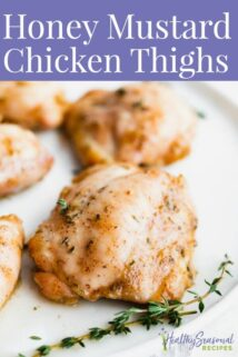 Chicken thighs up close with text overlay
