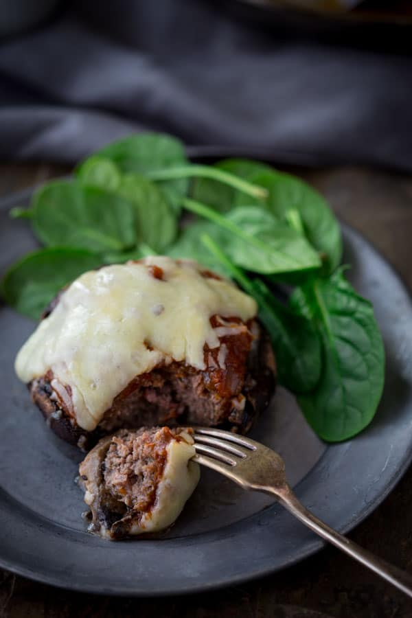 italian beef and marinara stuffed portobellos