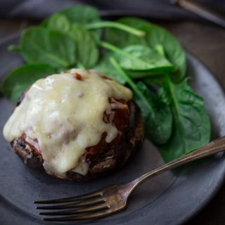Italian Beef and Marinara Stuffed Portobellos ~ All the flavors of a Meatball Parm Sub without the guilt, HealthySeasonalRecipes.com