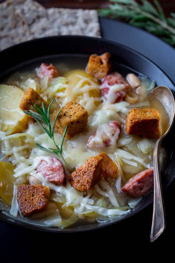 crock pot soup recipe with kielbasa, potatoes, white beans and cabbage
