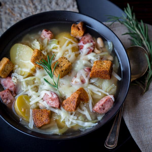 slow cooker kielbasa, cabbage and potato soupHealthy Seasonal