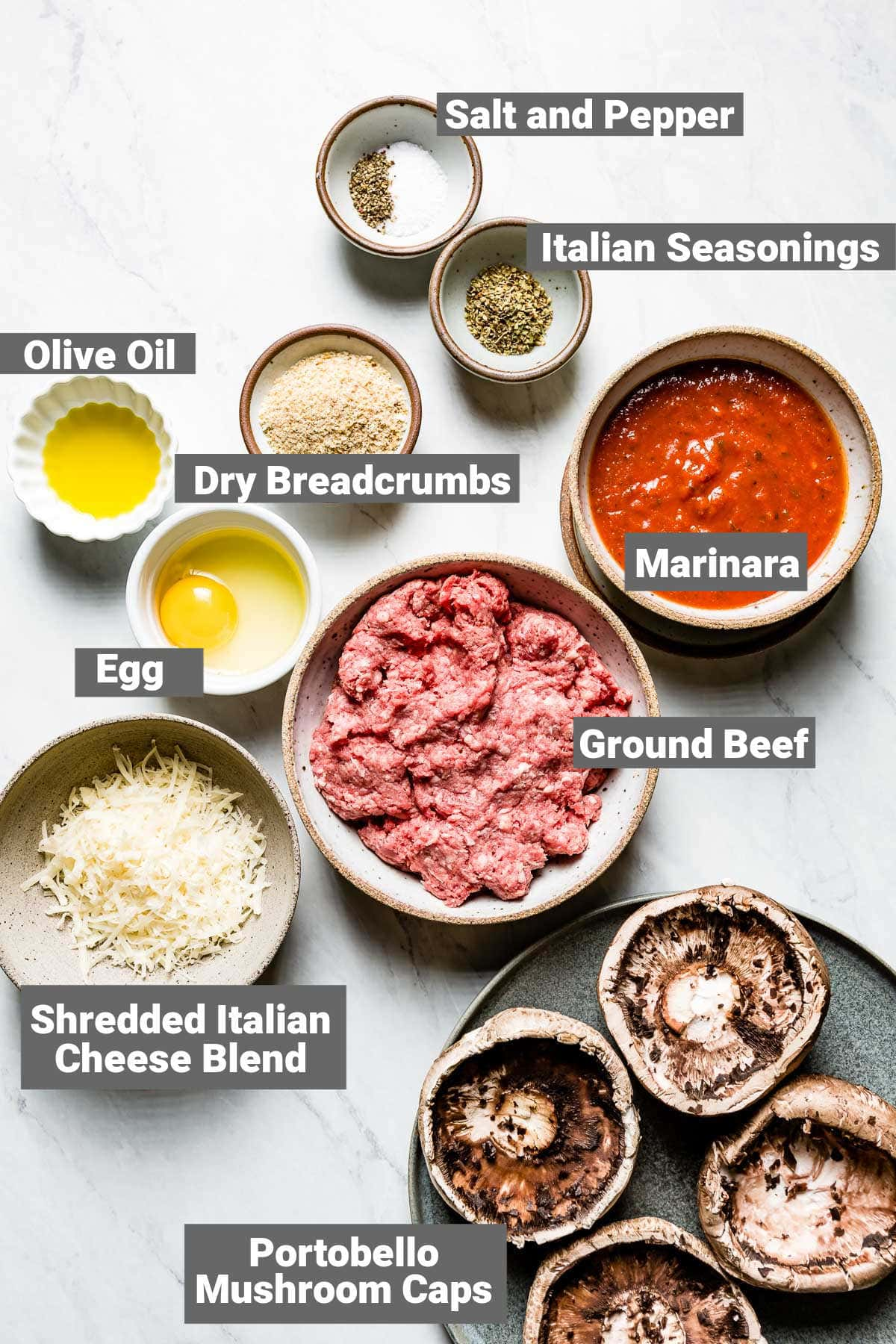 ingredients for stuffed portobellos