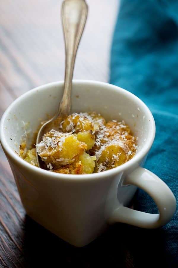 Wheat Free Banana Coconut Mug Cake only 5 minutes to make it, and it is perfectly ortioned controlled