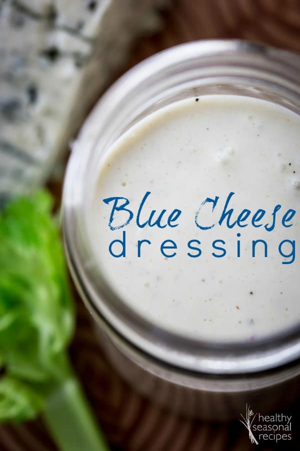 greek yogurt blue cheese dressing in a jar