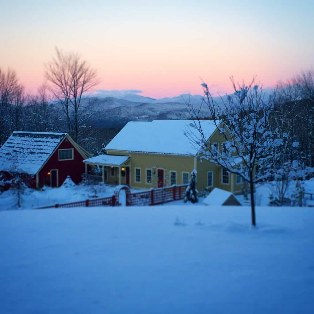 blue light, farmhouse Vermont