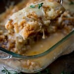 Caramelized Onion, Fish and Swiss Cheese Casserole with breadcrumbs and white wine less than 300 calories | Healthy Seasonal Recipes