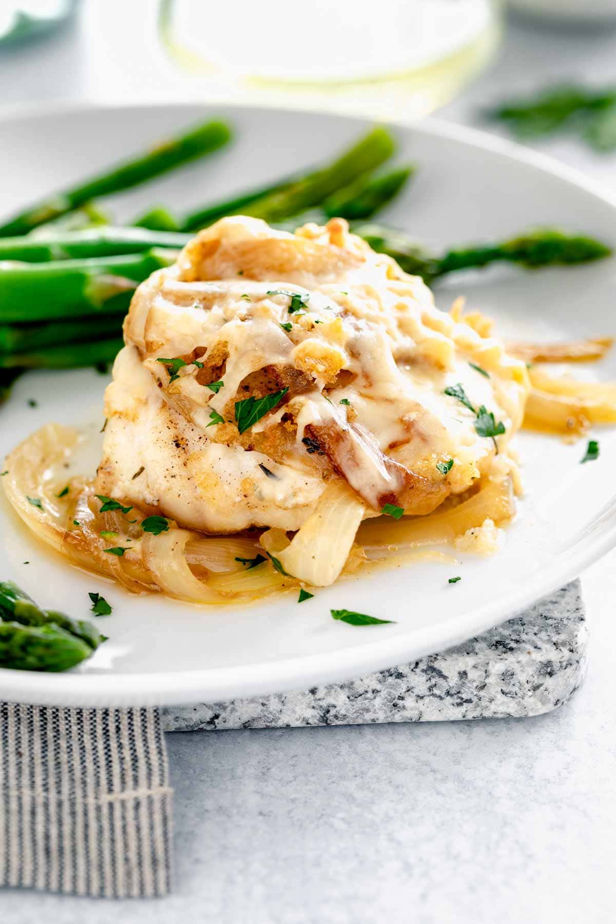 fish with toppings and caramelized onion