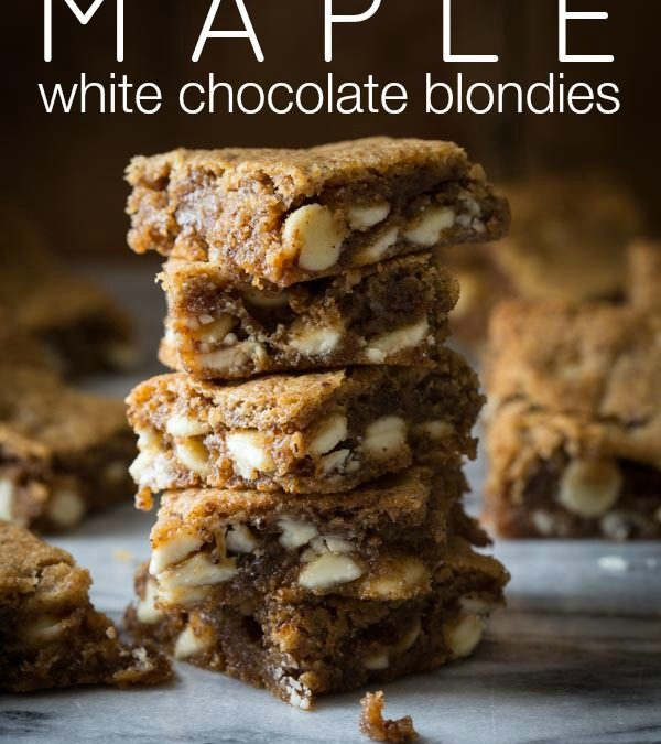 gluten-free maple white chocolate blondies