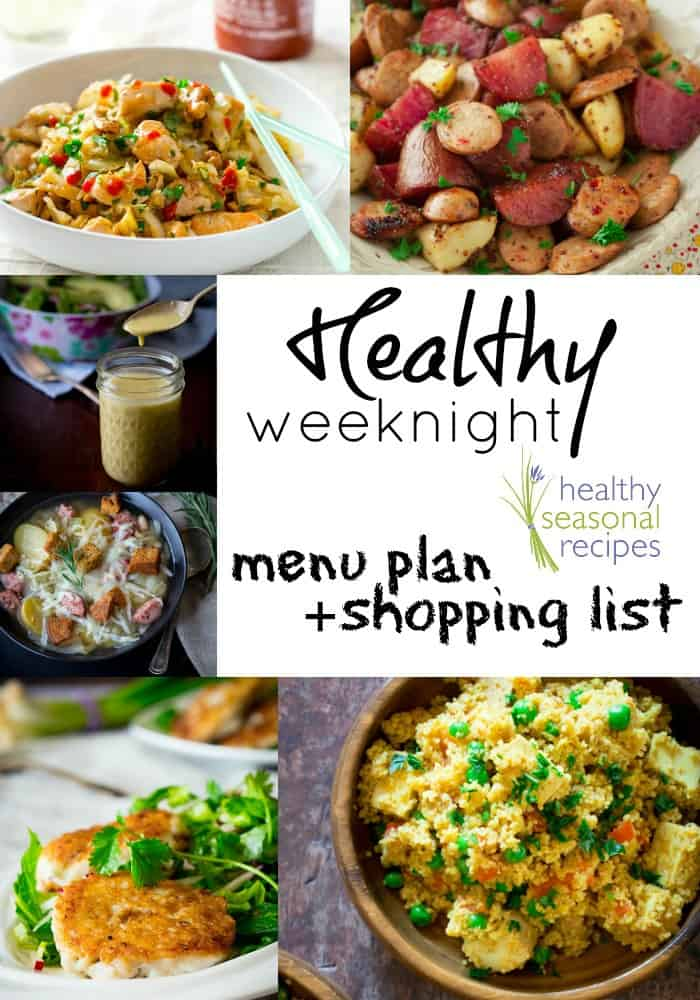healthy weeknight menu plan and shopping list
