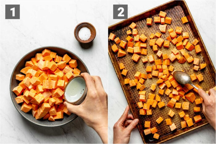 pouring oil over sweet potatoes, the sweet potatoes spread out on the sheet pan