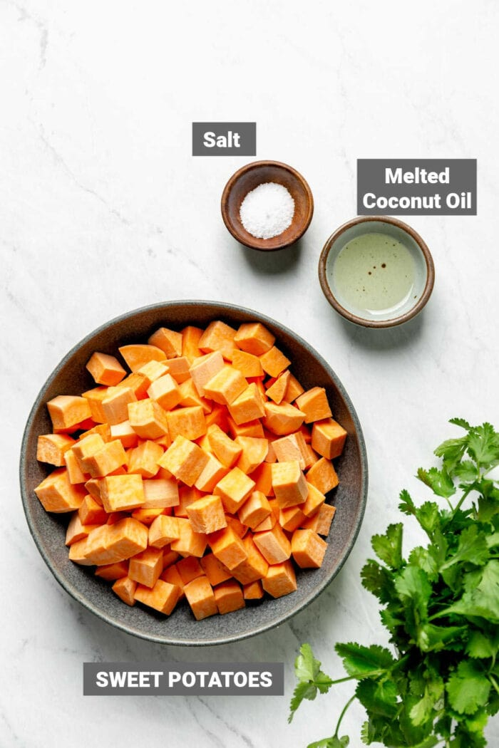 sweet potatoes and other ingredients for this recipe