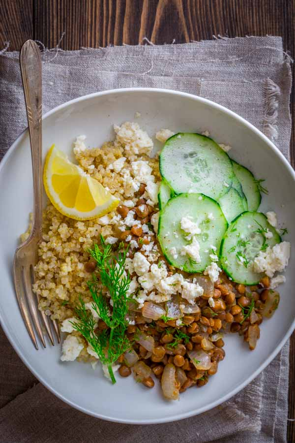 30 minute vegetarian lentil and quinoa bowls with lemon and coriander | healthy seasonal recipes