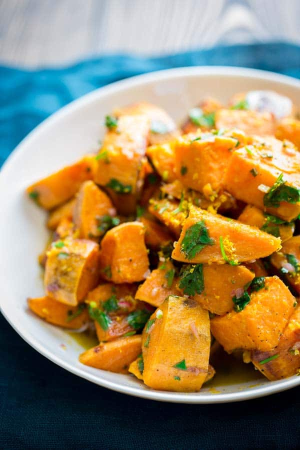 roasted sweet potatoes with citrus dressing - Healthy Seasonal Recipes