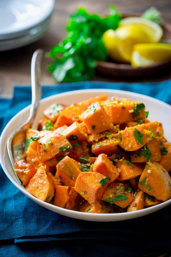 Roasted Sweet Potaoes with Citrus Dressing. Better than the sum of their parts! {Paleo and Gluten-Free}