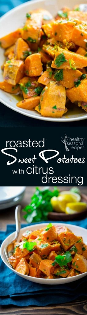 Roasted Sweet Potaoes with Citrus Dressing. Better than the sum of their parts! {Paleo and Gluten-Free} #MakeItPaleo2