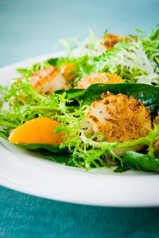 Coriander Crusted Scallops and Tangerine Salad