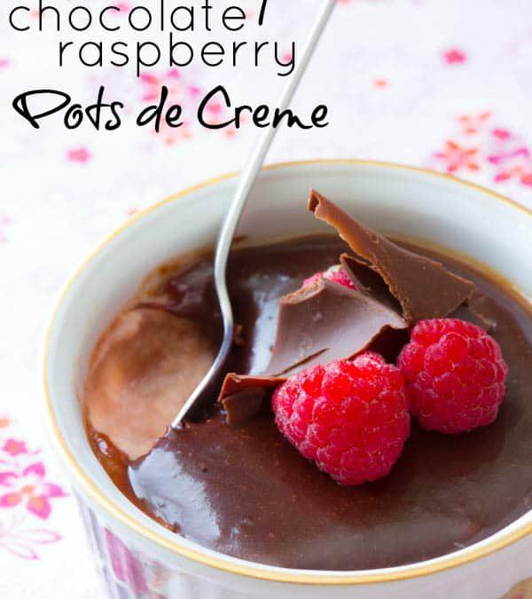 skinny chocolate raspberry pots de creme