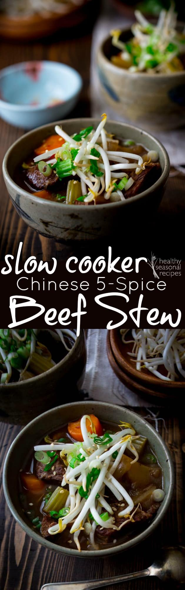 This slow cooker beef stew is flavored with Chinese 5 spice and is the perfect late winter entree. Plus, it's gluten-free and paleo-friendly. #slowcooker #crockpot #stew #beefstew #beef #5spice #paleo #glutenfree #winterrecipe #dinner #entree