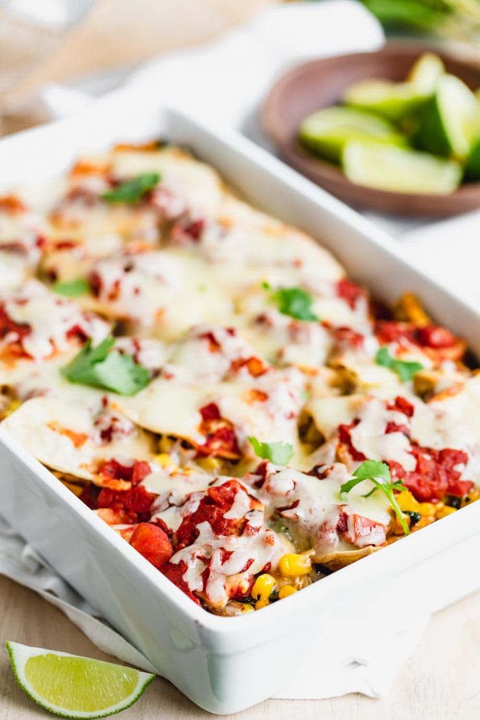 Mexican casserole with chicken up close