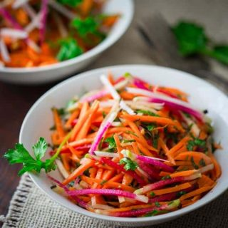 Ginger Carrot Radish Salad on HealthySeasonalRecipes.com | paleo-friendly, vegan and gluten-free