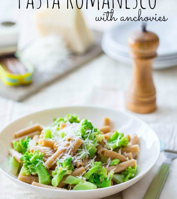 healthy pasta romanesco with anchovies
